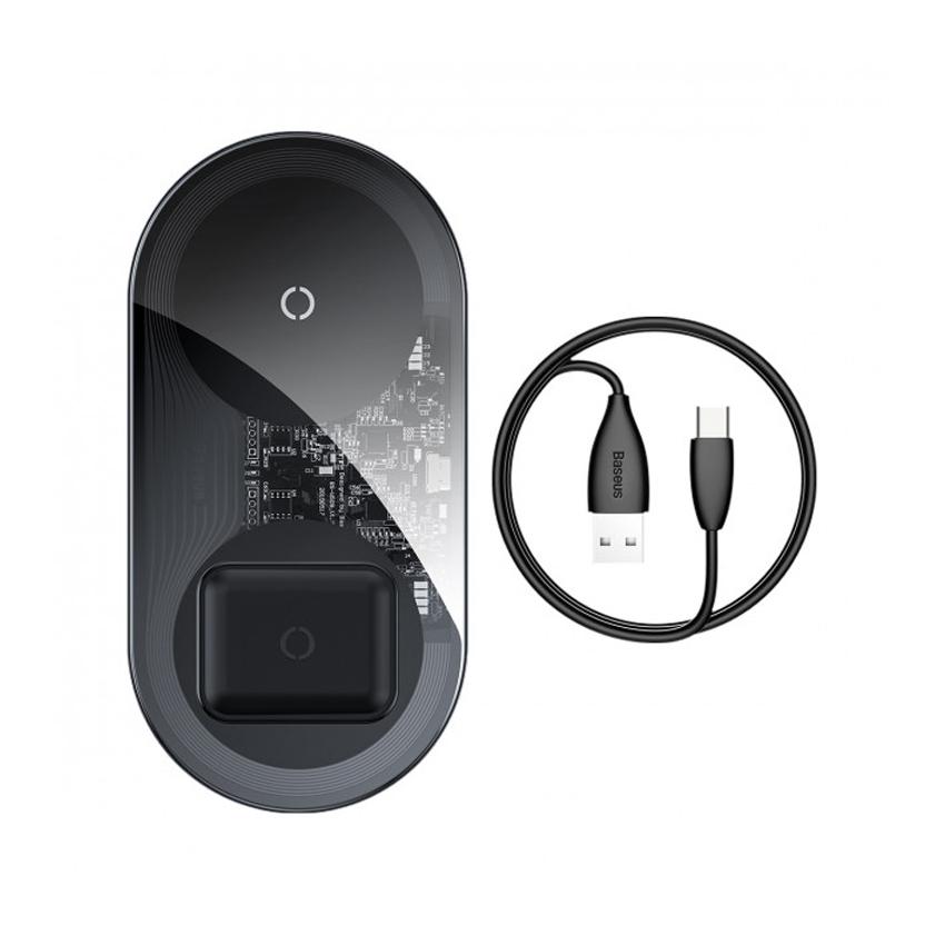 Беспроводное зарядное устройство Baseus Simple BS-W508 2 in 1 18W Clear