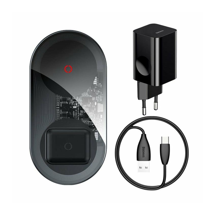 Беспроводное зарядное устройство Baseus Simple 2in1 Wireless Charger Turbo Edition 24W Black (TZWXJK-B01)