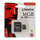 Карта памяти Kingston 16GB microSDHC Class 10 UHS-I 80R + SD Adapter